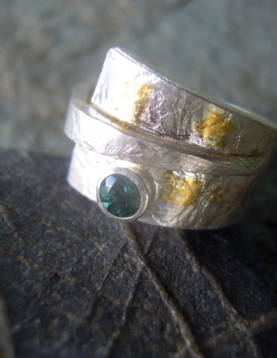 silver with keum boo ring and a blue tourmaline