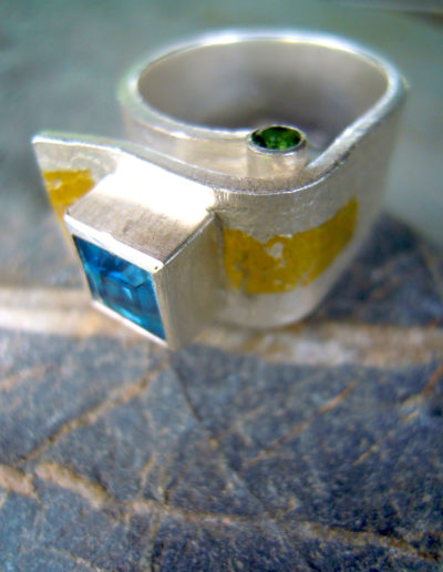 silver ring with keum boo, london blue topaz and green tourmalines