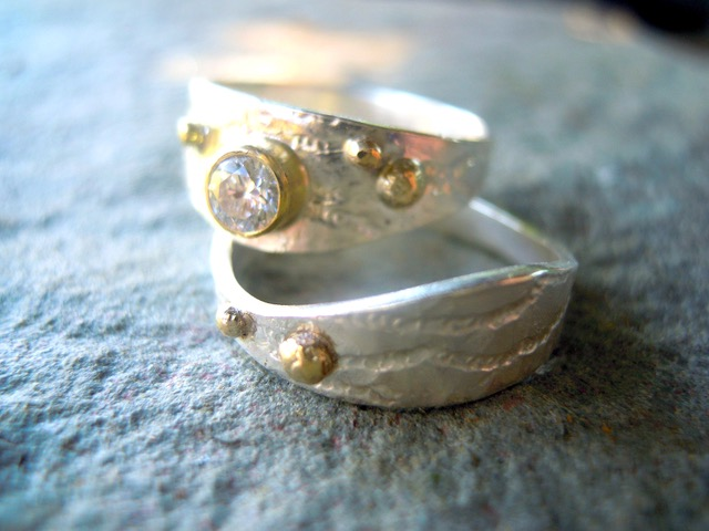 Silver and 18ct Gold Ring with diamond